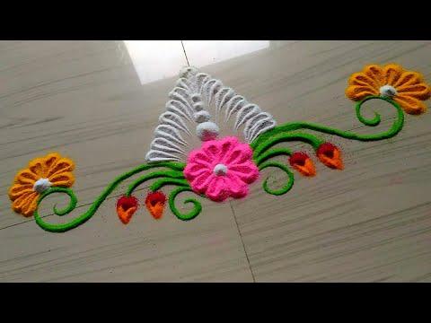 latest easy free hand Rangoli designs for Ganesh/ganpati FESTIVAL'S