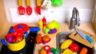 Learn Names of Fruits and Vegetables with toy velcro cutting food & Masha and the Bear