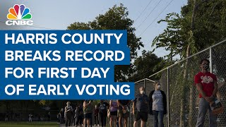 Harris County breaks record for first day of early voting with over 117K people heading to the polls
