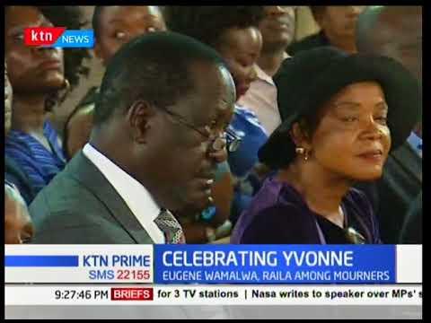 NASA leader Raila Odinga joins cabinet secretaries at the late Yvonne Wamalwa's requiem mass