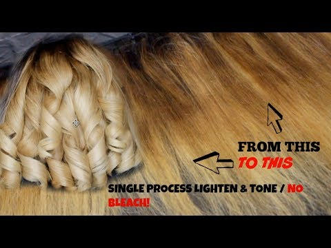 How To Lighten and Tone Hair In One Single Process using Wella Koleston Color| Sandy Blonde