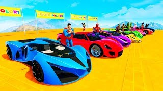 LEARN COLORS RACE CARS With Superheroes Colors For Kids Animation Cartoon