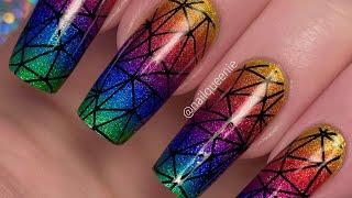 Holo Taco Rainbow Geometric Nail Art Tutorial