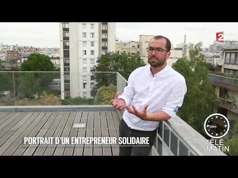 Pierre-Emmanuel Grange, a fondé en 2009 microDon, une entreprise sociale qui vise à maximiser la collecte de fonds pour des associations en proposant aux français de faire des micro-dons. Dans les achats du quotidien, ils peuvent désormais donner en acceptant d'arrondir leur somme due. - Télé-Matin 2015/07/17