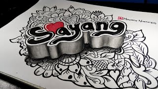 Cara Membuat Doodle Art 3d SAYANG ❤️ - Gambar 3 Dimensi