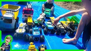 Monster Trucks for Kids on the Slip and Slide!