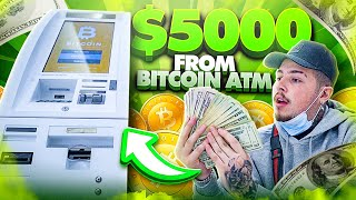 Withdrawing $5,000 CASH from a BITCOIN ATM!!   Turning Bitcoin into Cash!!