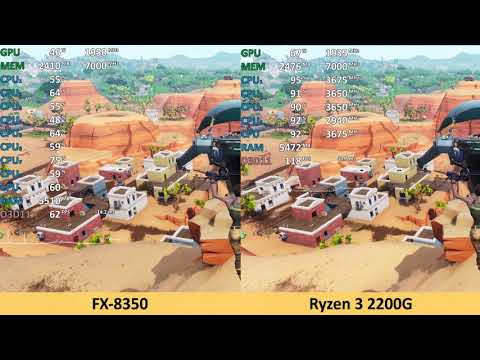 AMD Ryzen 3 2200G vs FX-8350 - Fortnite - Gameplay Benchmark Test