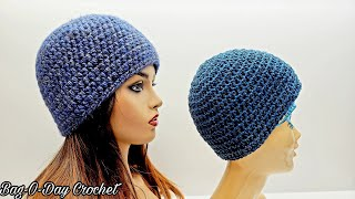 Easy Seamless Half Double Crochet Beanie/Free Hat Tutorial/Bag O Day Crochet Tutorial #686