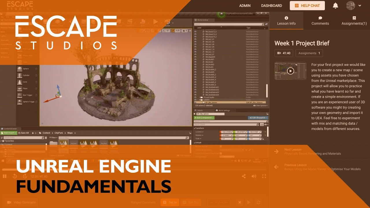 Unreal Engine Fundamentals course trailer