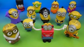 2015 McDONALD'S MINIONS MOVIE SET OF 12 HAPPY MEAL KIDS TOYS VIDEO REVIEW (USA)