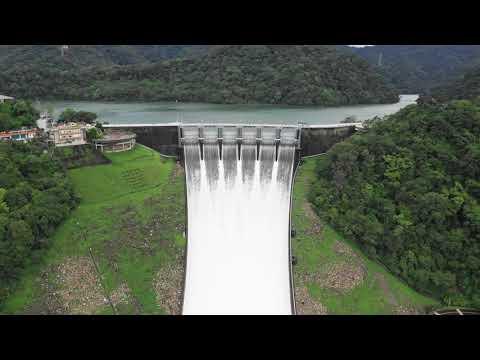 利奇馬颱風石門水庫溢洪道調節性放水空拍影片