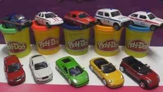 Surprise eggs of play doh with cars: ambulance, police