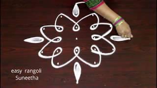Creative 7 dots  kolam  simple n cute designs ||  easy rangoli muggulu  || latest patterns
