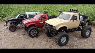 WPL RC Truck action video. c14 c24. Tamiya motor. Trailers. FPV.