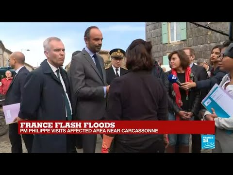 France flash floods: PM Philippe visits affected area near Carcassonne