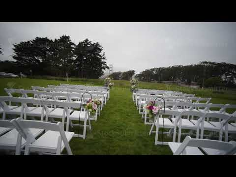 Outgoing wedding ceremony. Decor, chairs for the wedding ceremony on the lawn