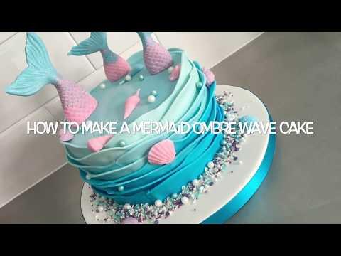 Mermaid Ombré Wave cake tutorial