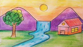 Easy Landscape Drawing For Kids And Beginners Learn House And Nature Simple Painting