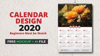 Calendar Design 2020 | Wall Calendar 2020 | How To Make A Calendar In Illustrator Tutorial #MH