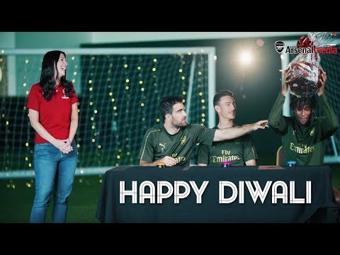 Alex Iwobi and Arsenal teammates take part in a quiz for Diwali, a Hindu festival