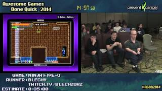 Ninja Five O :: Live SPEED RUN (0:22:35) [GBA] By Blechy #AGDQ 2014