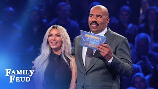 Download Video Kim & Kanye's INCREDIBLE Fast Money! | Celebrity Family Feud MP3 3GP MP4