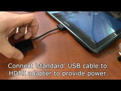 Connect a Samsung tablet to a monitor via a HDMI cable and the optional HDMI (HDTV) adapters
