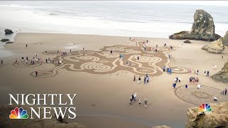 See The Intricate Labyrinths On Oregon's Beaches Before The Tide Washes Them Away | NBC Nightly News