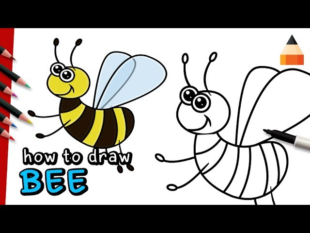 step by step instruction how to draw a bee