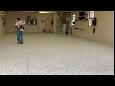 Epoxy flake garage floor.