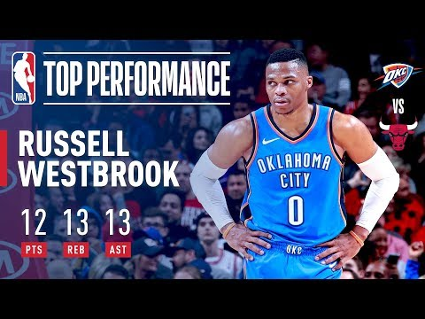 Russell Westbrook Puts Up Triple Double Against Chicago Bulls (12pts, 13 rebs, 13 ast)
