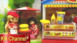 Đồ chơi trẻ em Bé Na review Nhà hàng búp bê chibi Baby Doll Restaurant Fast food Kids toys