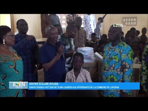 Dakpè SOSSOU fait don de 70.000 cahiers aux apprenants de la commune de Lokossa Dakpè SOSSOU fait don de 70.000 cahiers aux apprenants de la commune de Lokossa