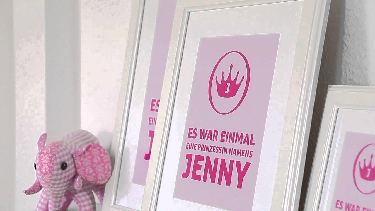 Prinzessin - personalisiertes Kinderzimmer Bild Weiß