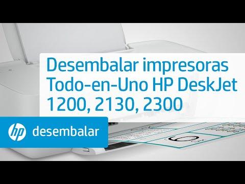 Desembalar las impresoras Todo-en-Uno de las series HP DeskJet 1200 y 2130 e Ink Advantage 1200 y 2300