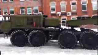 Army truck MAZ-537 skidding on slippery roads