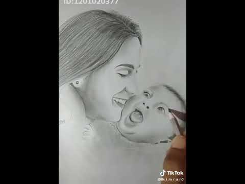 How to draw mom and baby so easy