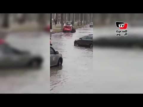 غرق شوارع دمياط بالأمطار وتعطل حركة السيارات