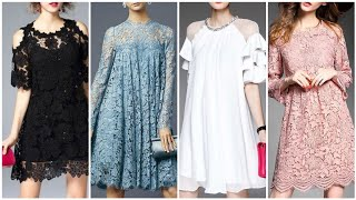 Latest Collection Of Shiffon And Lace Mini Dress Half Sleeves Casual ,ruffled, Flounce Crew Neck