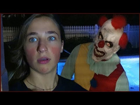 Scary Clown Stalks Us at Night at Our Pool Recording Videos - CREEPY!
