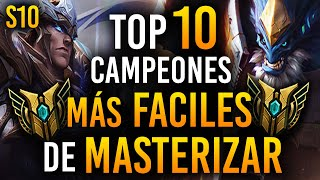 TOP 10 Campeones MÁS FÁCILES de MASTERIZAR en League of Legends | Guía LOL S10