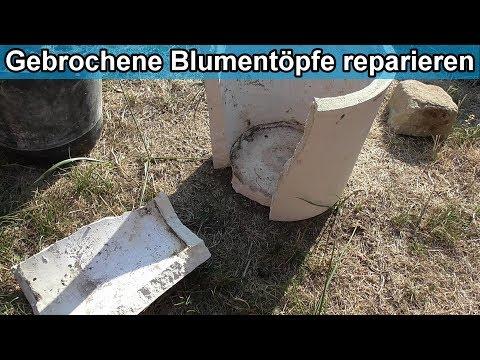 Zerbrochenen Blumentopf reparieren / Kaputten Beton Blumenkübel / Pflanzkübel kleben – Anleitung