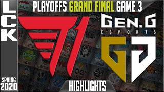T1 vs GEN Highlights Game 3 | LCK Spring 2020 Playoffs GRAND FINAL | T1 vs Gen.G G3
