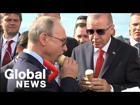 Putin buys Erdogan ice cream, shows off new Su-57 fighter jet during visit to Russia