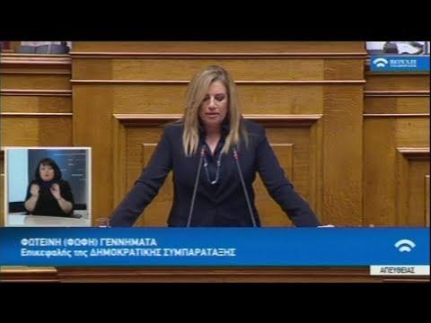 Απόσπασμα ομιλίας της επικεφαλής της Δημοκρατικής Συμπαράταξης κ. Φ. Γεννηματά, στη Βουλή