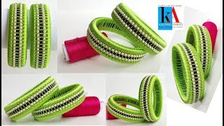 How to make Designer Checker Model Silk Thread Bangles // Fancy Bangles making tutorial