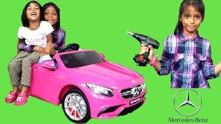 Pink Mercedes S63 AMG Kids Ride On Car SURPRISE UNBOXING & Assembly - 12V Test Drive Park Playtime