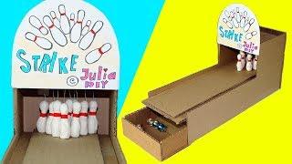 Bowling game DIY   How to make a game   Desktop game from cardboard   Julia DIY