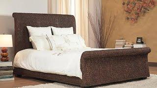 Oversized Wicker Sleigh Bed